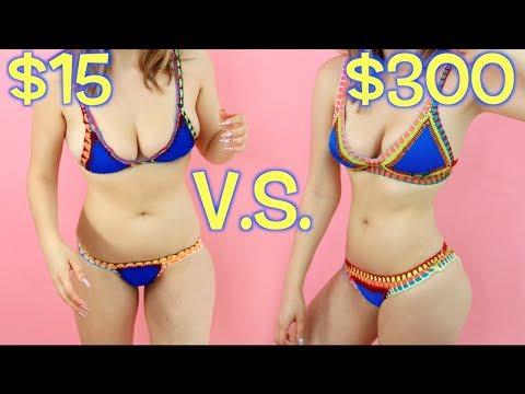 TRYING ON $15 BIKINIS VS. $300 BIKINIS!
